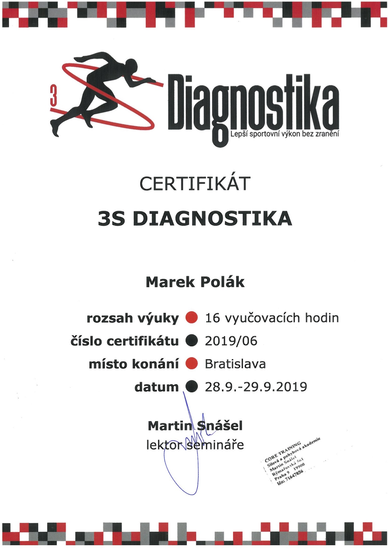 Certifikát 3S Diagnostika Marek Polák